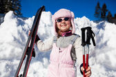 Girl with ski — Stock Photo