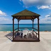 пляжный павильон с неба — Стоковое фото