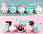 Gourmet cupcakes with hearts — 图库照片