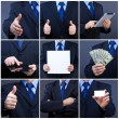 Handsome business man holding blank card - Stock Photo