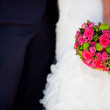 Closeup of brides flowers on wedding day — Stock Photo
