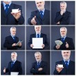 Handsome business man holding blank card — Stock Photo