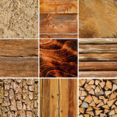 Holz texturen collage — Stockfoto