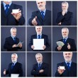 Handsome business man holding blank card — Stockfoto