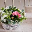 Flowers composition on wedding ceremony - Stock Photo