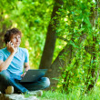 Young man talking on the phone — Stock Photo