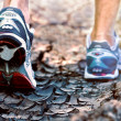 Athlete running sport shoes on trail healthy lifestyle — Stockfoto