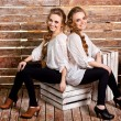 Beautiful happy twins sitting back to back — Stock Photo