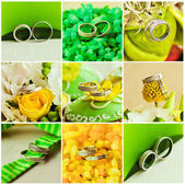 Collage of beautiful weding rings — 图库照片