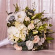 Stock Photo: Wedding bouquet with rose and hydrangea