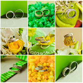 Collage of beautiful weding rings — Stock Photo