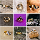Collage of wedding rings — Fotografia Stock