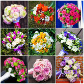 Collage of beautiful wedding flowers — Stock Photo