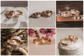 Collage of beautiful wedding rings — 图库照片
