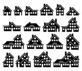 Houses Building black icon set — Vettoriale Stock