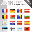Stock Vector: Angle Stickers - European Flags