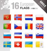 úhel samolepky - evropské vlajky — Stock vektor