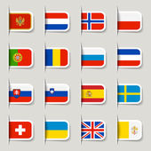Label - European Flags — Stock Vector