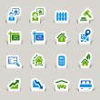 Papercut -  Real estate icons - Stockvektor