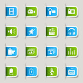 Label - Media Icons — Stockvector