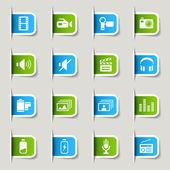Label - media iconen — Stockvector