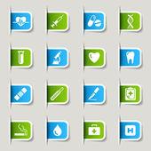 Etikett - medicinsk ikoner — Stockvektor