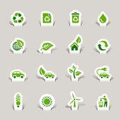 Papercut - ekologické ikony — Stock vektor