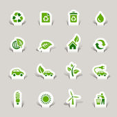 Papercut - iconos ecológicos — Vector de stock