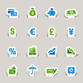 Papercut - Finance icons — Stock Vector