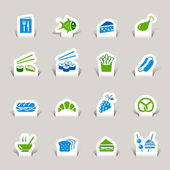 Papercut - Food Icons — Stock Vector