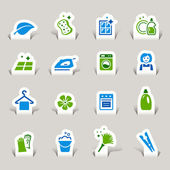 Papercut - Cleaning Icons — Stock Vector