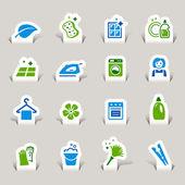 Papercut - čištění ikony — Stock vektor