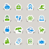 Papercut - Halloween Icons — Stock Vector