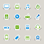 Papercut - media iconen — Stockvector