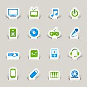 Papercut - icônes médiatiques — Vecteur