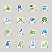 Papercut - iconos hotel — Vector de stock