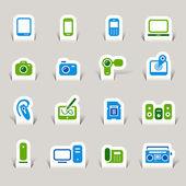 Papercut - Media Icons — Stock Vector