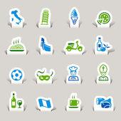 Papercut - i̇talyan simgeler — Stok Vektör