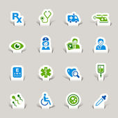 Papercut - Medical Icons — Stock Vector