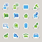 Papercut - real estate pictogrammen — Stockvector