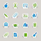 Papercut - school pictogrammen — Stockvector