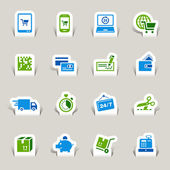 Papercut - Shopping icons — Vettoriale Stock