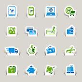Papercut - shopping icons — Stockvektor