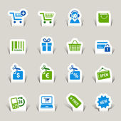 Papercut - iconos de compras — Vector de stock