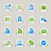 Papercut - nakupování ikony — Stock vektor