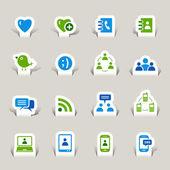 Papercut - iconos de redes sociales — Vector de stock