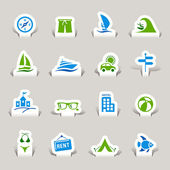 Papercut - Vacation icons — Stock Vector