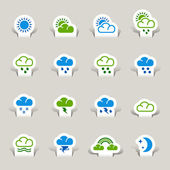 Papercut - Weather icons — Stock Vector