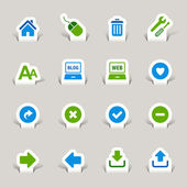 Papercut - iconos de página web e internet — Vector de stock