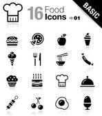 Basic - iconos de comida — Vector de stock